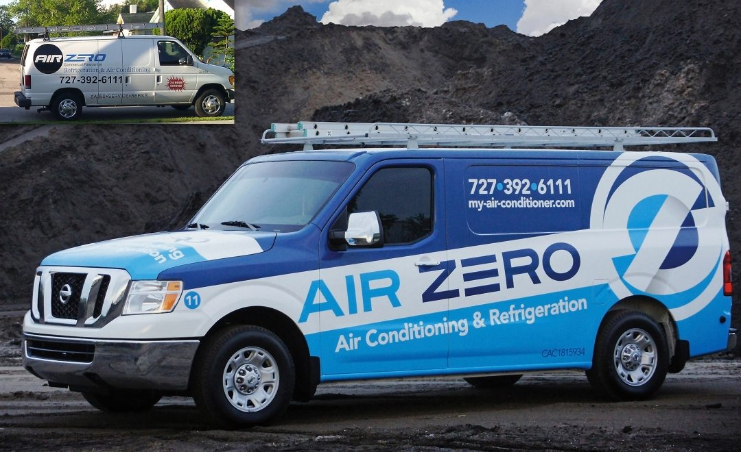 Before & after Award-winning vehicle advertising and fleet design - HVACR Magazine Tops in Trucks Winner