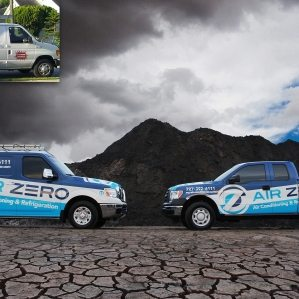 Before & after Award-winning vehicle advertising and fleet design - HVACR Magazine Tops in Trucks Winner