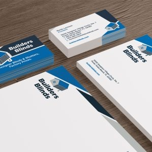 Stationery design for Builders Blinds, commercial contractor in Florida.