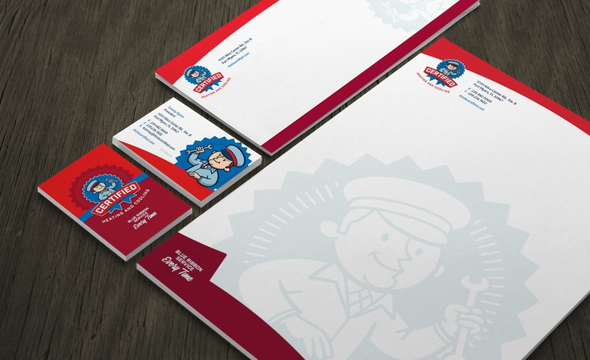 Stationery design for Certified Heating & Cooling, HVAC company in Florida.