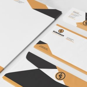 Stationery design for Suburban Seating & Safety, a retail company in New Jersey.