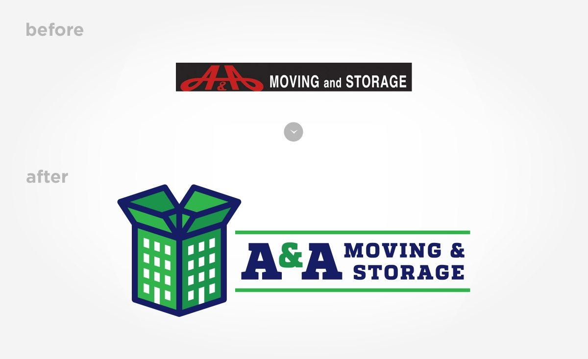Before & after logo design for a moving and storage company based in Bronx, NY.