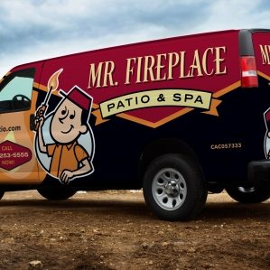 Retro vehicle wrap design for a fireplace, gas and spa company based in Florida.