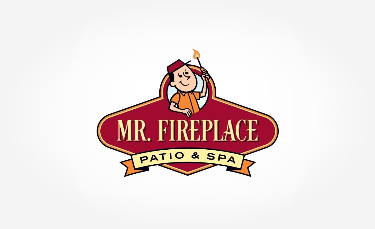 Retro logo design for a fireplace, gas and spa company based in Florida.