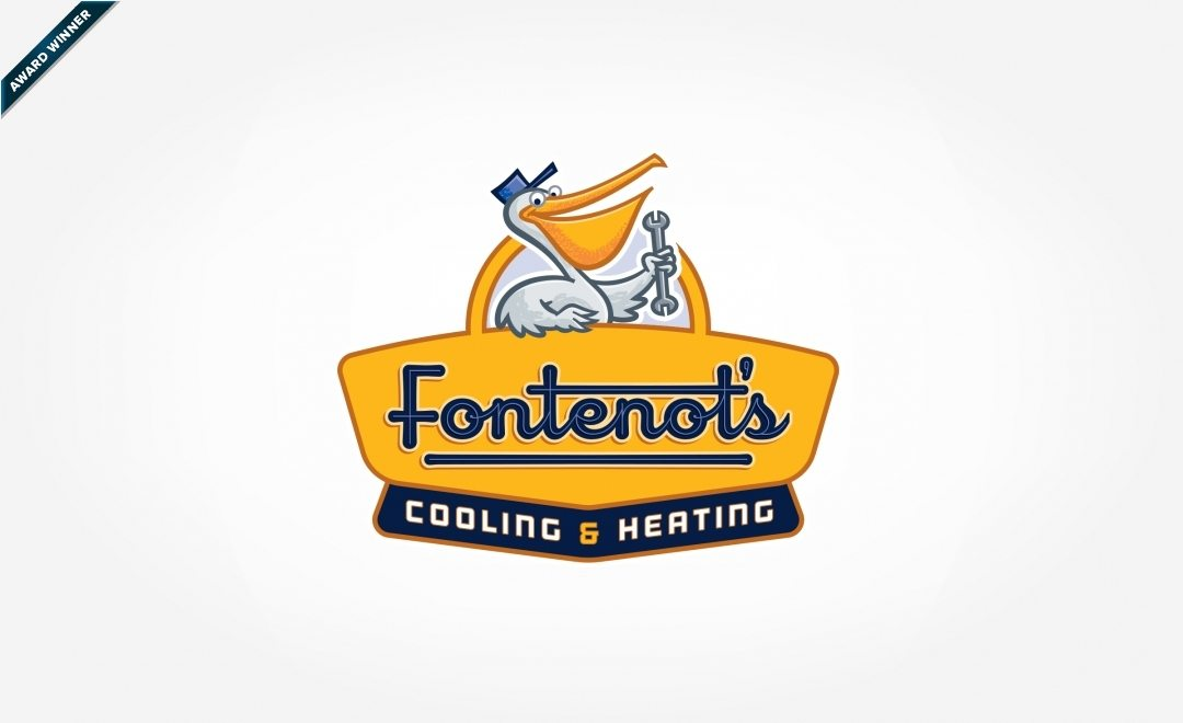 Award-winning mascot logo design for Fontenot's Air Conditioning & Heating located in Louisiana. Winner of Art Directors Club of NJ Award for Corporate & Promotional Design - Trademarks, Logos: Brand - Bronze, 2014.