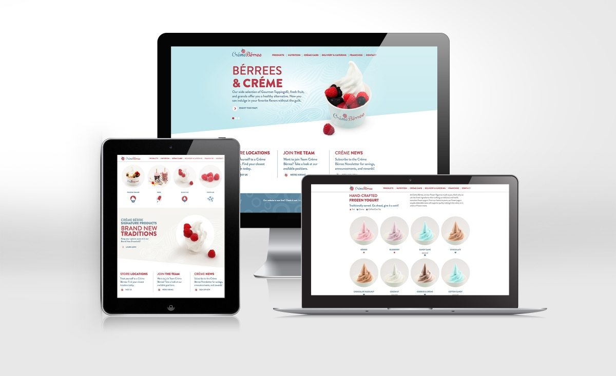 Gourmet frozen yogurt shop website design for Créme Bérree, retail store in Garwood, NJ.