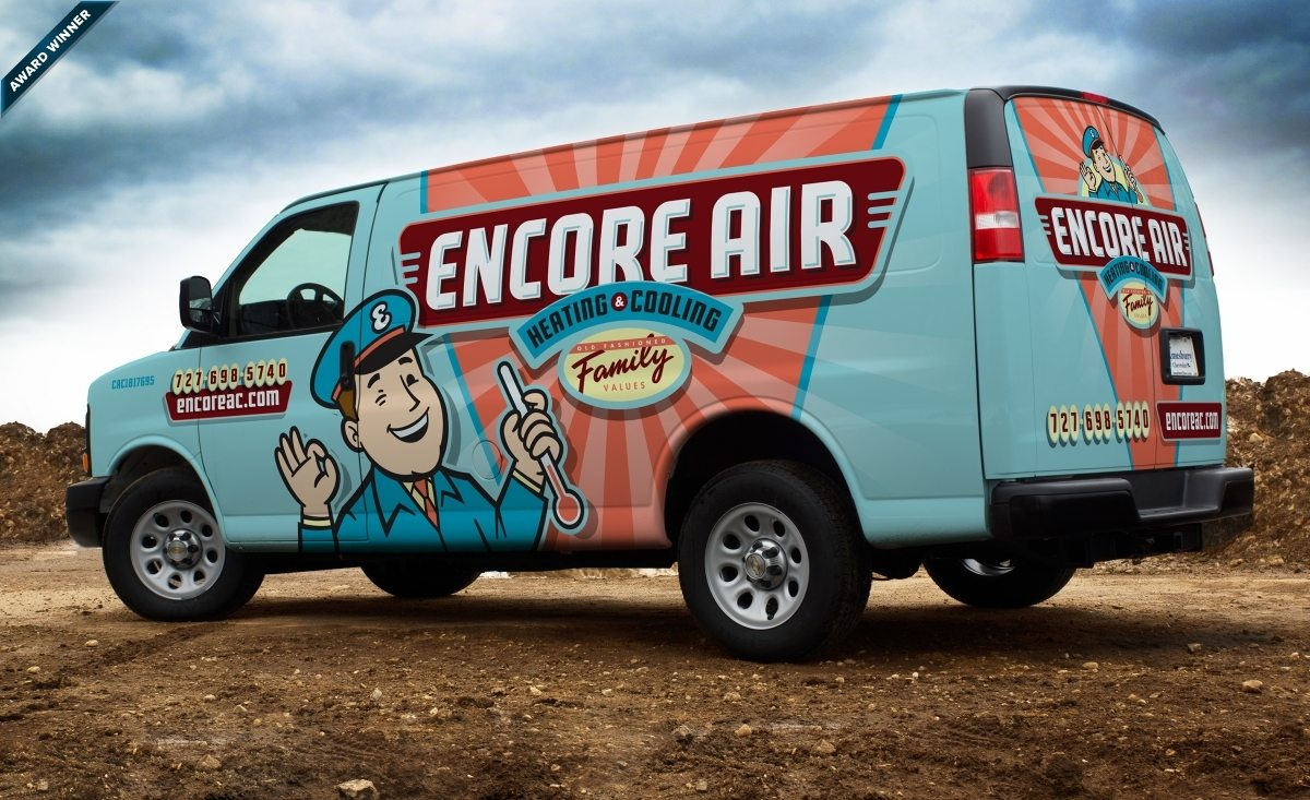 Van design for Encore Air Heating & Cooling, an hvac company based in Largo, FL.