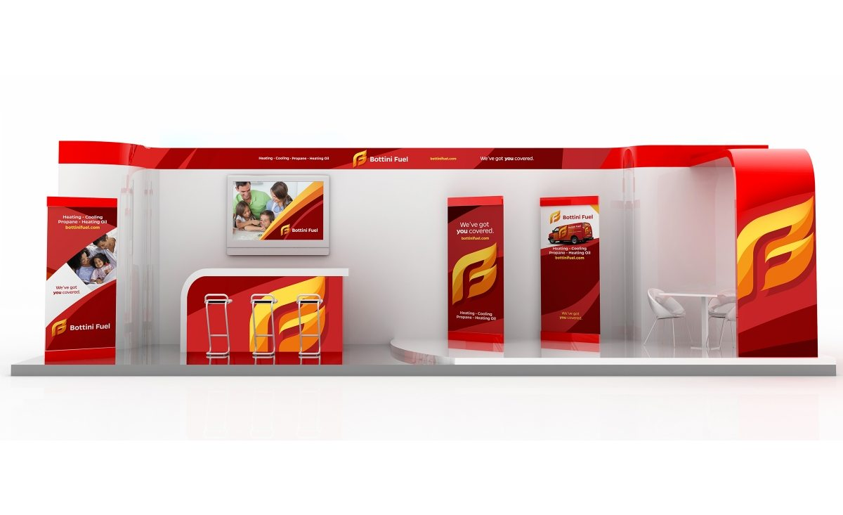 Trade show booth design for Bottini Fuel, a propane and oil company in New York.
