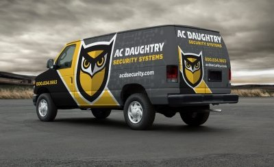 Vehicle wrap design for A.C. Daughtry Security Systems, a security company providing integrated home and business security solutions throughout New Jersey.
