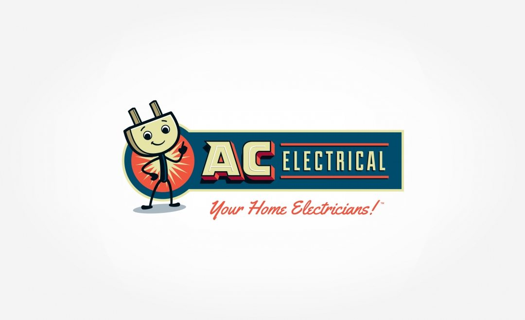 A retro logo for an electric company, featuring an AC outlet mascot.