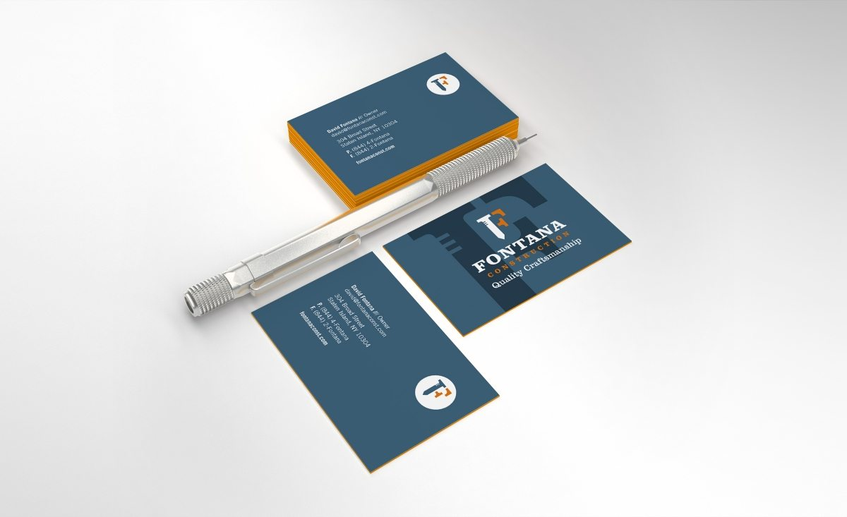 Fontana Construction business card design for a full-service construction firm located in Staten Island, New York.