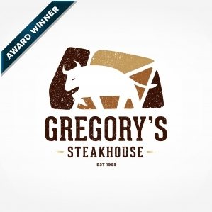 Award-winning logo design for Gregory's Steakhouse, a restaurant in Allentown, Pennsylvania. Winner of Art Directors Club of NJ Award for Corporate & Promotional Design - Trademarks, Logos: Brand - Silver, 2014 and winner of Collateral/Identity Logo and/or Trademark in the 2014 NJ Ad Club Jersey Awards.