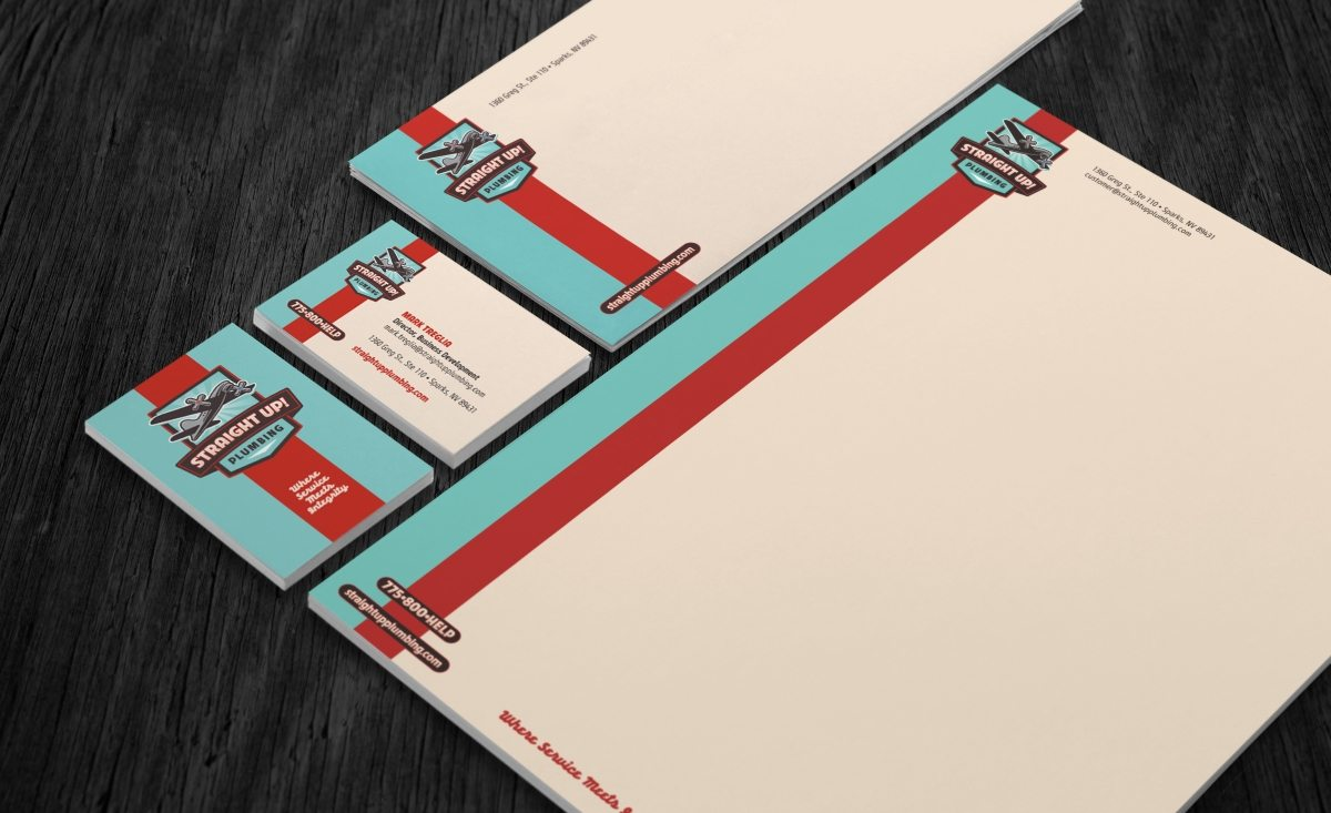 best stationery design, plumbing company stationery