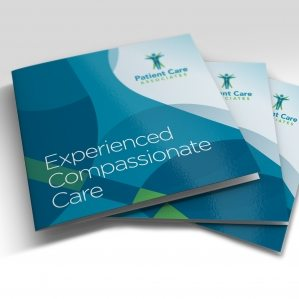 Multipage square booklet brochure design for Patient Care Associates surgical center in Engelwood, New Jersey.