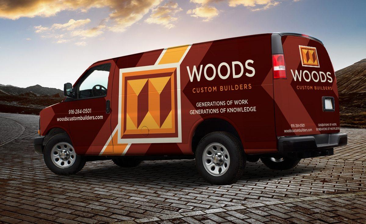 Woods Custom Builders vehicle wrap design for a home improvement company serving Sacramento, California.