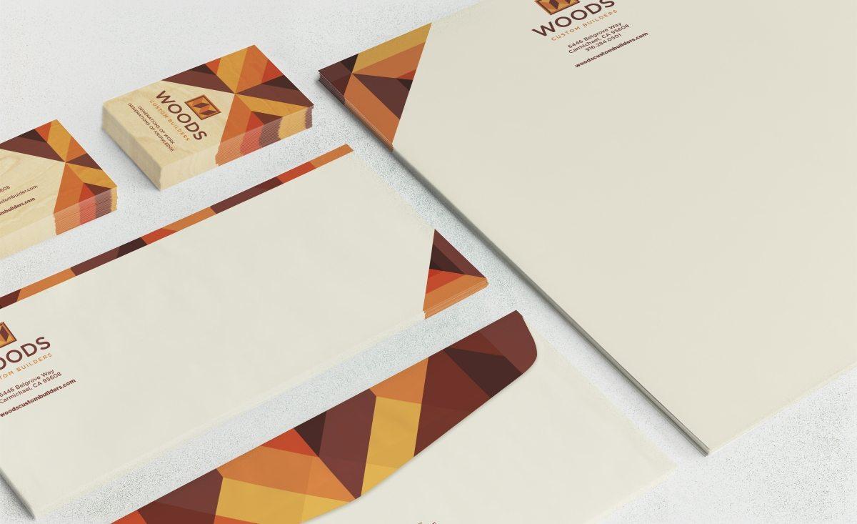 Woods Custom Builders stationery design for a home improvement company serving Sacramento, California.