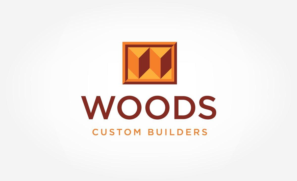 Woods Custom Builders logo design for a home improvement company serving Sacramento, California.