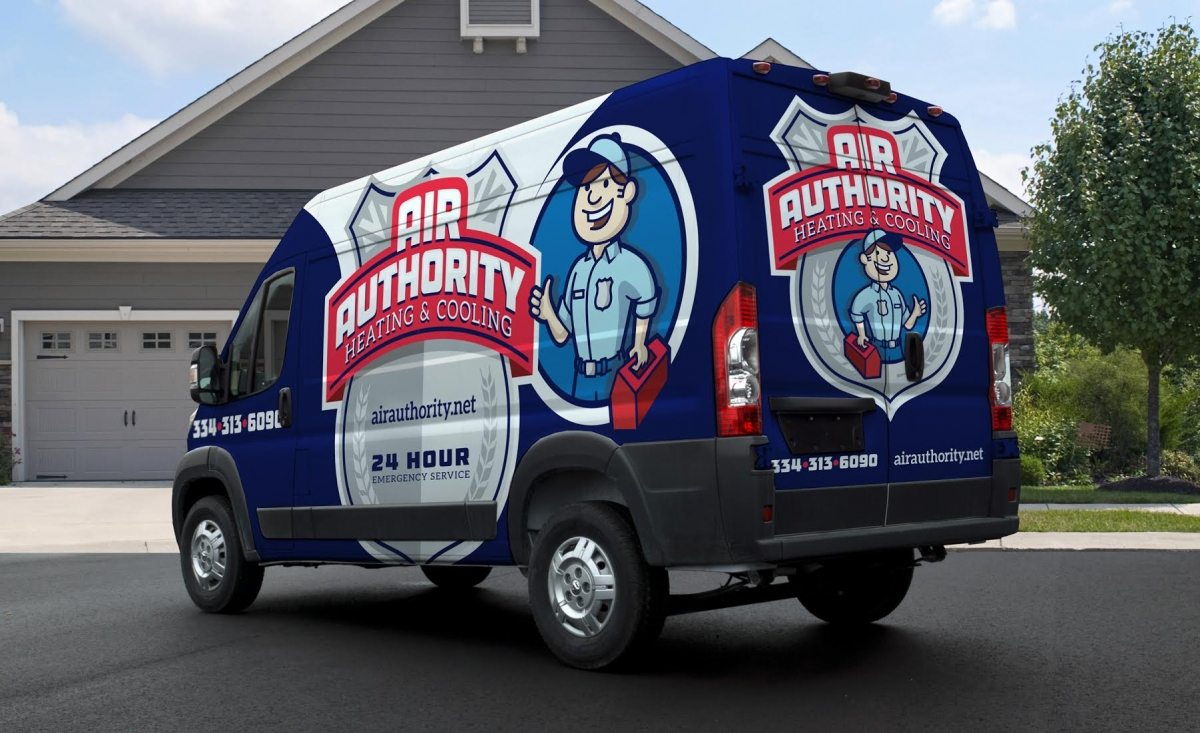 New fleet branding and logo design for this Alabama-based HVAC company. The best HVAC truck wraps deploy a clear visual, and integrate their branding in a unique way.