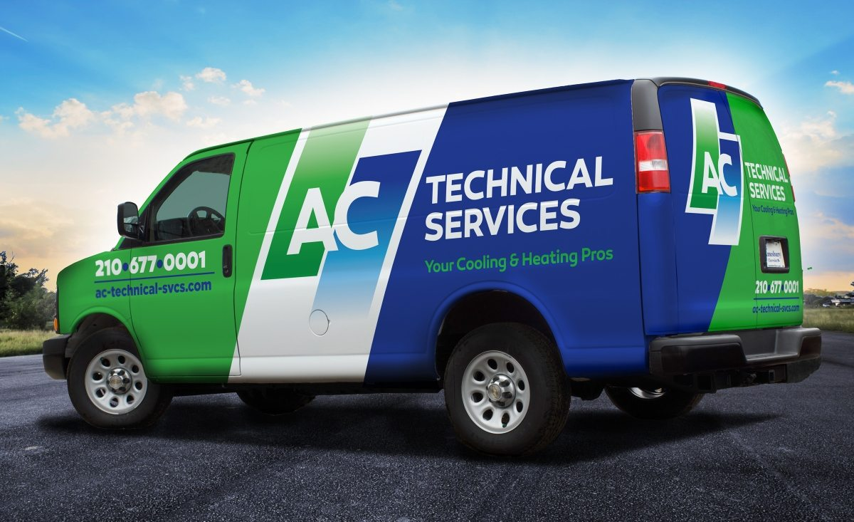 The best vehicle wraps use simple, easy-to-read graphics, as this wrap for AC Technical Services shows.