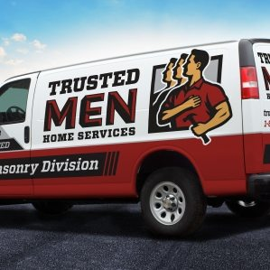 The best truck wraps use simple, easy-to-read graphics, as this wrap for Trusted Men Home Services: Masonry Division shows.