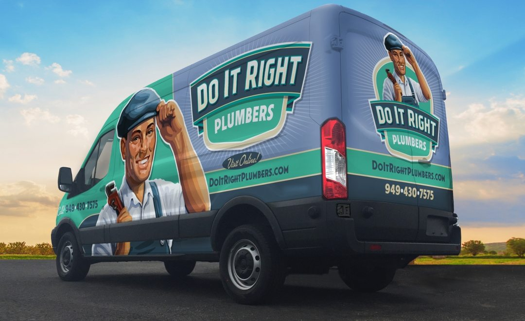 The best vehicle wraps use simple, easy-to-read graphics, as this wrap for Do It Right Plumbers shows.