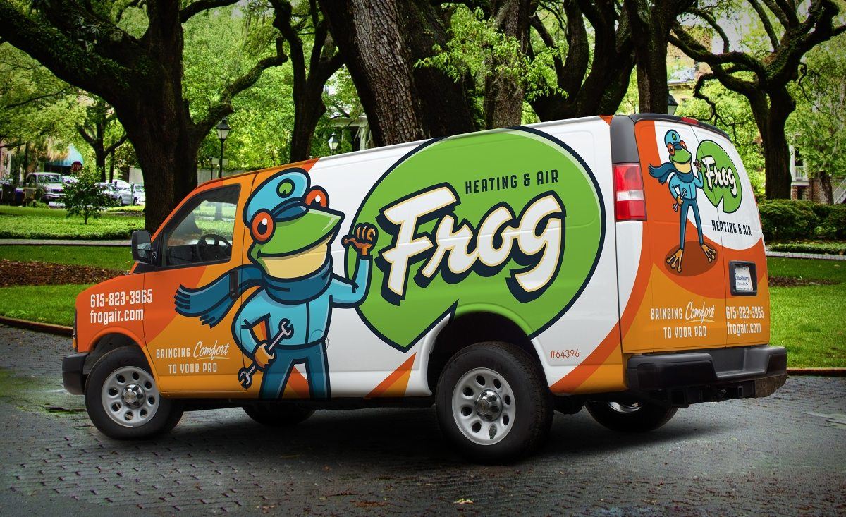 The best vehicle wraps deploy a clear visual that integrates the company's branding in a unique way, as this HVAC vehicle wrap shows.