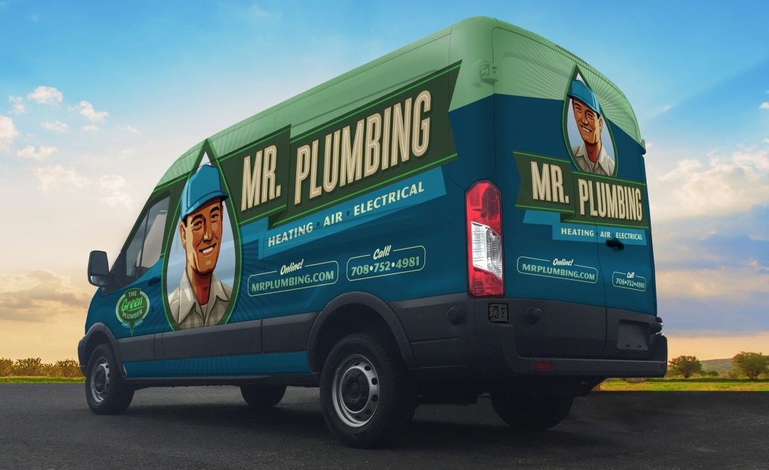 Vehicle wrap design for Mr. Plumbing. The best vehicle wraps use easy-to-read graphics and a great logo to communicate a memorable brand, as this wrap shows.