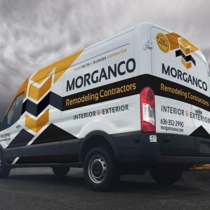Vehicle wrap design for Morganco Remodeling Contractors. The best vehicle wraps use appealing graphics and easy-to-read fonts, as this wrap for Morganco shows.