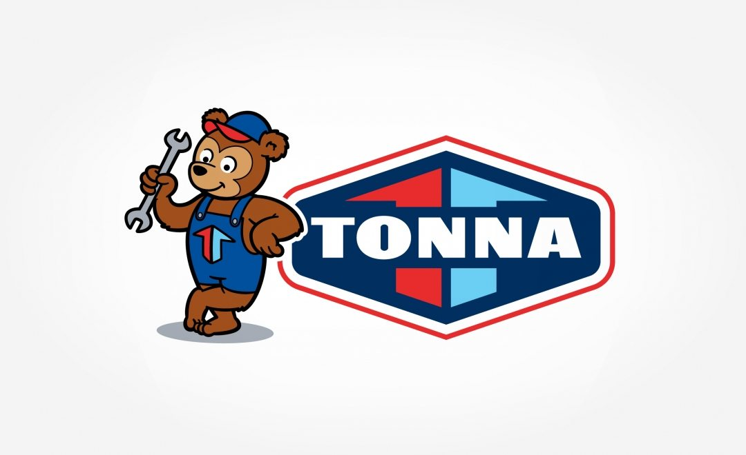To reinforce the brand's friendly, customer service-oriented personality, Tonna Mechanical's new logo focused on an approachable bear mascot wearing coveralls that feature the Tonna icon.