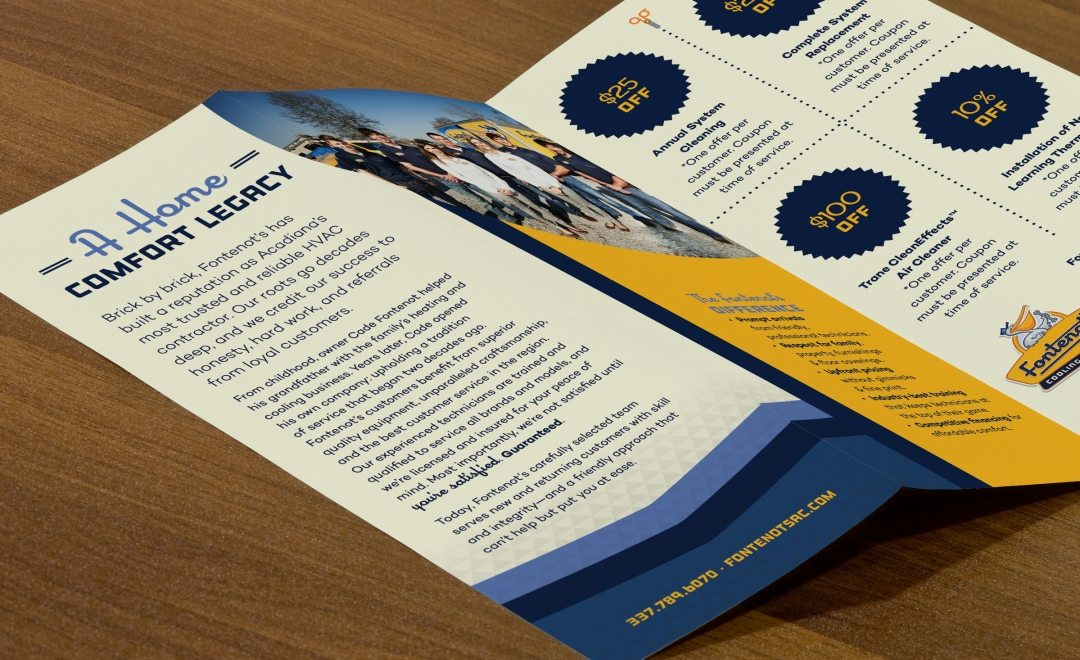 Tri-fold brochure for Fontenot's Cooling & Heating in Broussard, LA.