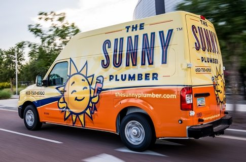 An effective truck wrap for integrating the brand we created for Sunny Plumber.