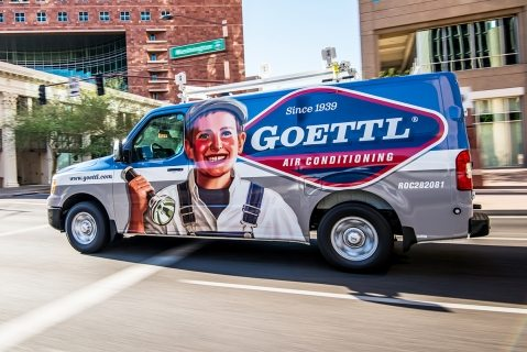 Branding and truck wrap design for Goettle Air Conditioning, Phoenix, AZ.