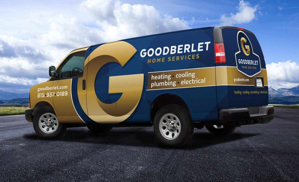The best vehicle wraps use simple, easy-to-read graphics, as this wrap for Goodberlet Home Services shows.