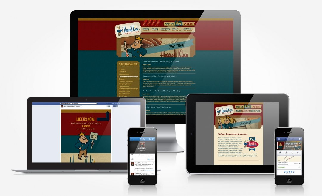 Facebook, Twitter, blog and newsletter design and management for Harrell King Heating & Air.