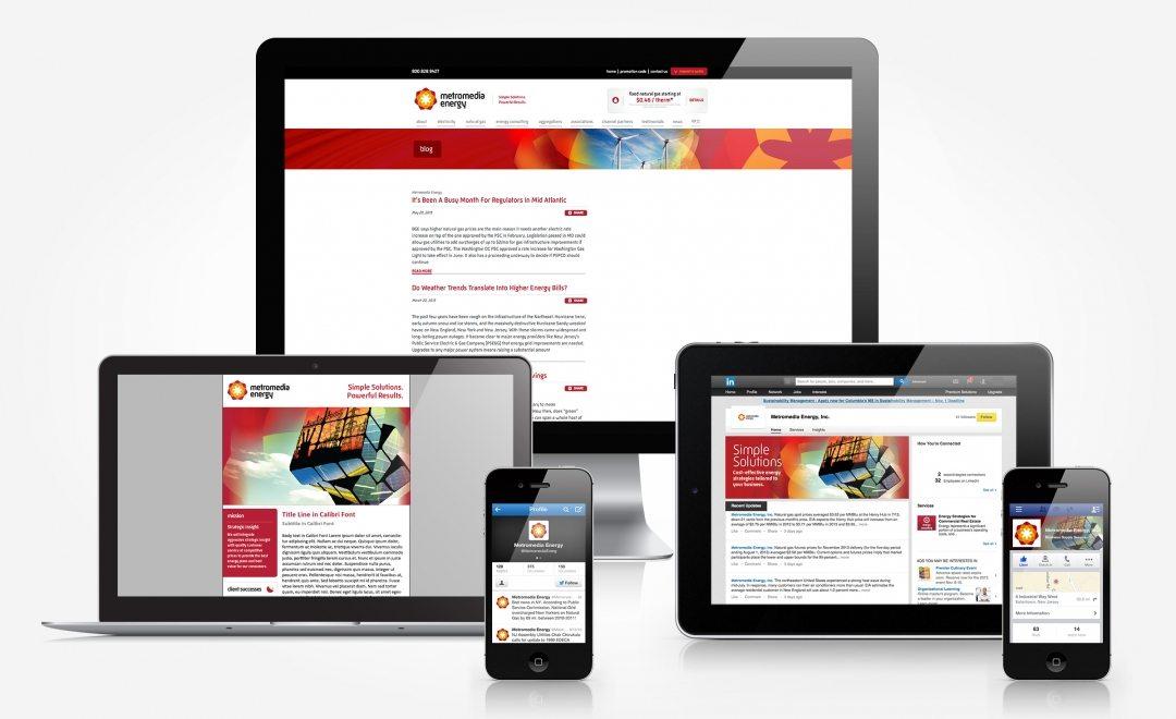 Facebook, Twitter, Linkedin, blog and newsletter design for Metromedia Energy.