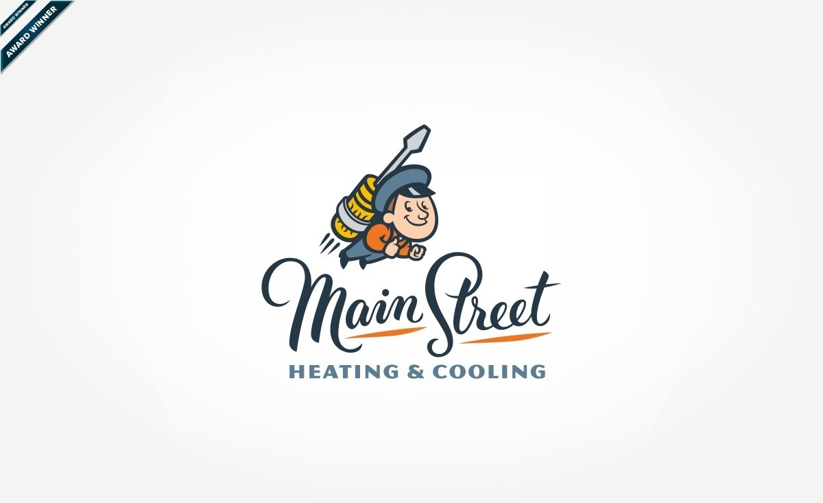 Award-winning vintage logo design for a heating and air conditioning company in Utah.