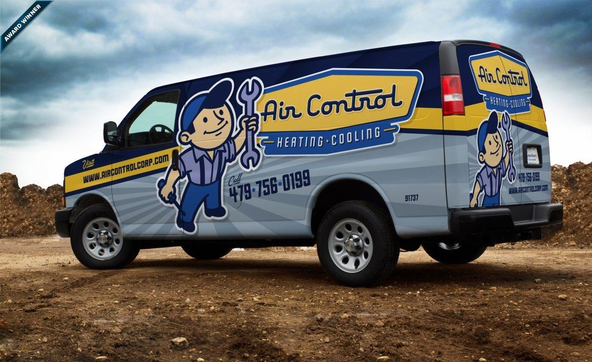 Vintage themed fleet brand and logo design for this Arkansas based HVAC company. Award winning truck wrap design, 2013 Tops in Trucks Winner.