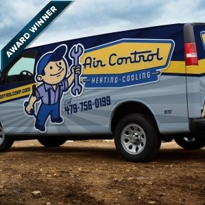 Vintage themed fleet brand and logo design for this Arkansas based HVAC company. Award winning truck wrap design, 2013 Tops in Trucks Winner.