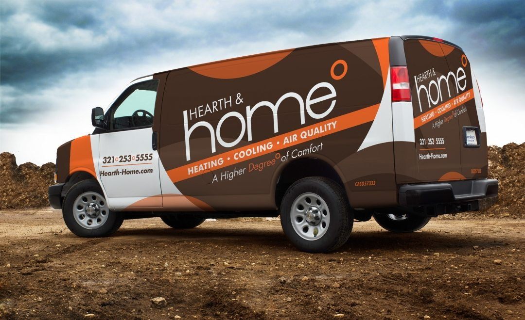 Hearth & Home HVAC contractor truck wrap and fleet branding integration.