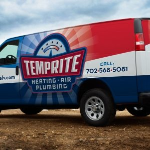 A vehicle wrap design for a heating and a/c contractor in Las Vegas.