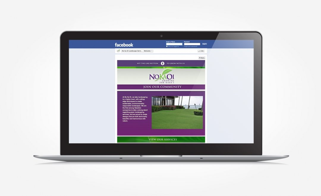 Facebook design for a landscape services in Hawaii.