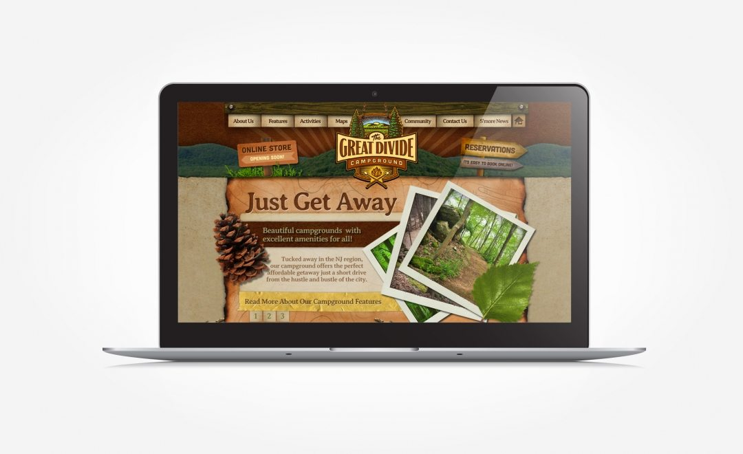 Web design for a campground located in Sussex County, NJ