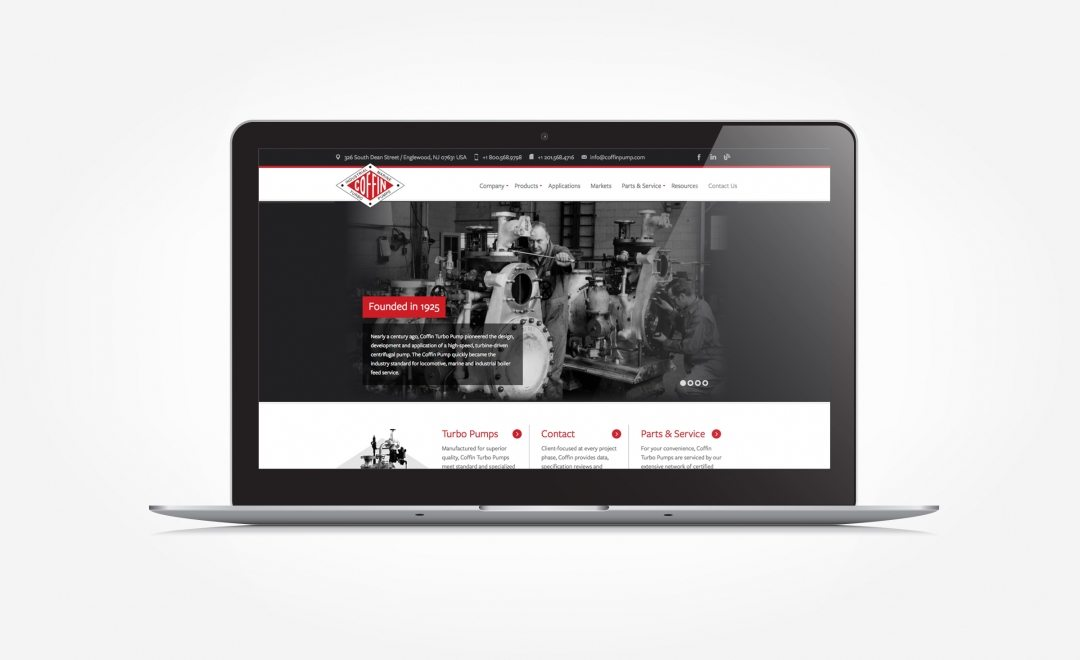 Award-winning web design for a high-pressure turbo pump manufacturer located in Englewood, NJ.