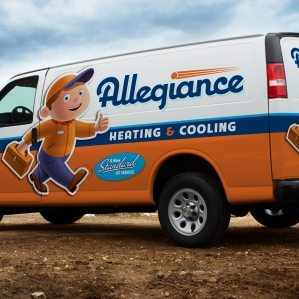 Award-winning vehicle advertising, branding, and truck wrap design for this HVAC contractor. Awarded an HVACR Magazine Tops in Trucks Winner