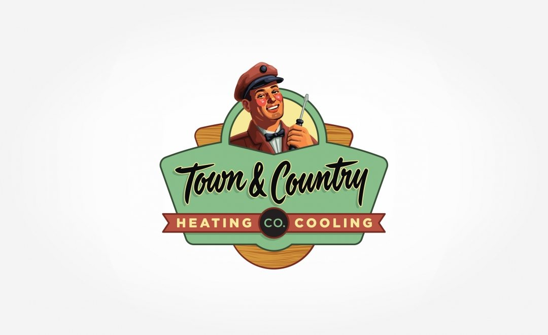 Vintage logo design, in a 50's illustrative style (posterized) for this HVAC contactor.