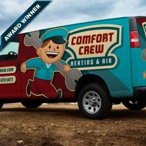 Award-winning vehicle wrap for a heating and air conditioning company utilizing retro branding and logo design. Winner of Art Directors Club of NJ Award for Corporate & Promotional Design - Miscellaneous, Silver, 2014.