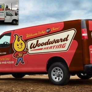 Before & after vehicle wrap design for a full service HVAC contractor located in Aumsville, OR.