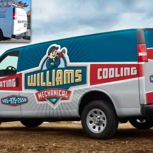 Before & after Fleet wrap design for an HVAC company in New Mexico.