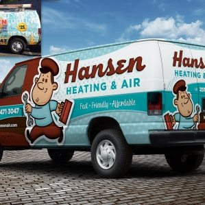 Hansen Heating & Air - Before & after Retro-themed truck wrap design and fleet branding for a heating and air conditioning contractor in Mobile, AL.