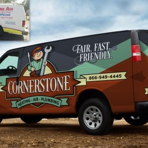 Before & after retro truck wrap design for an HVAC and plumbing company in Florida.